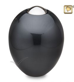 Ovalbrass urn with charcoal grey finish