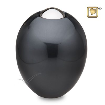 Oval brass urn with charcoal grey finish
