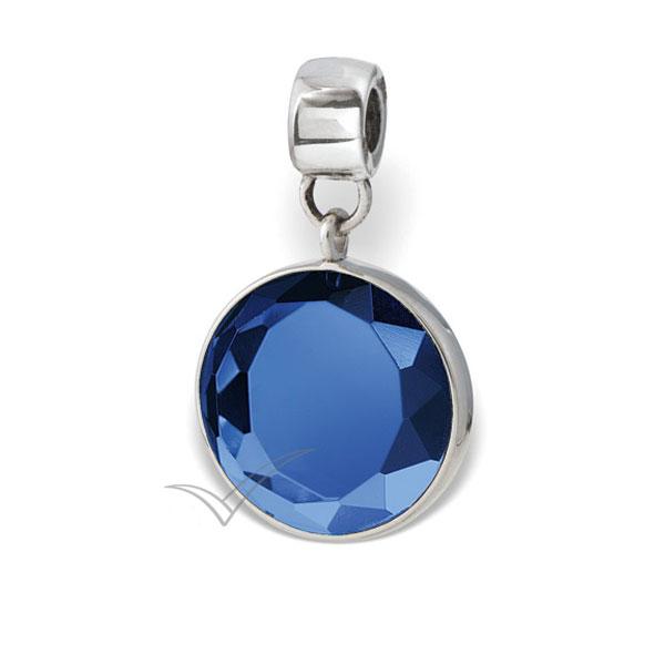 J0325 Perle cinéraire dotée de cristal rond taillé bleu