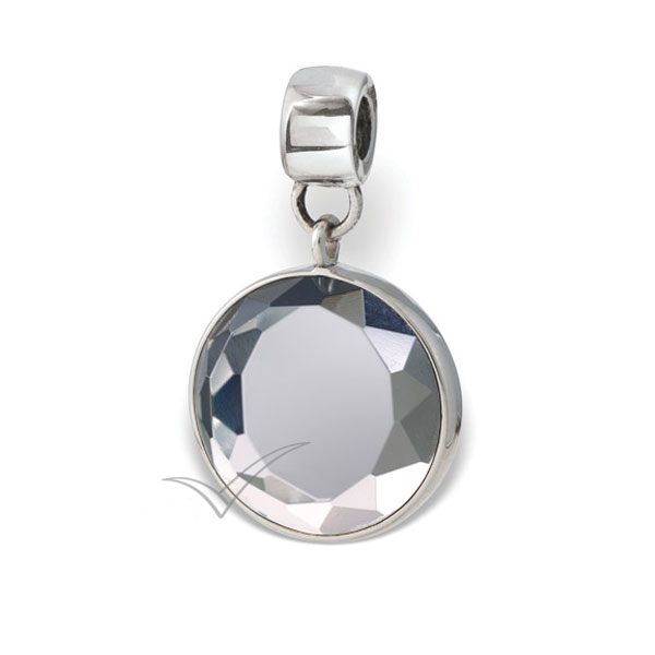 Perle commémoratif doté de cristal rond taillé transparent