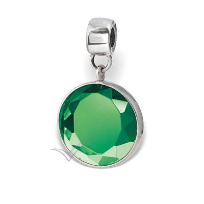 Pendentif commémoratif doté de cristal rond taillé vert