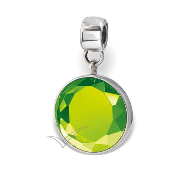 Cristal rond taillé de couleur vert clair