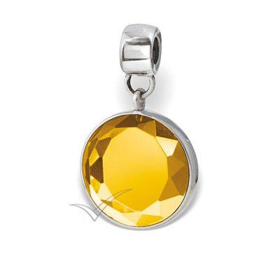 Cristal rond taillé, serti dans une monture en argent sterling