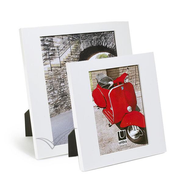 Cadre photo en bois, finition blanche