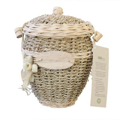 U4202 Wicker and sea grass round urn