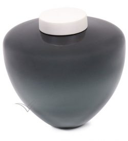 Grey blown glass urn with white ceramic top