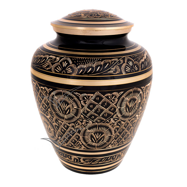 U86720 Urne en laiton noir à motifs floraux gravés en or