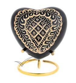 U86720H Black brass heart miniature urn