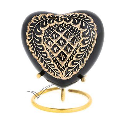U86720H Urne miniature en coeur en laiton noir