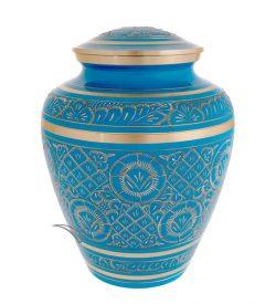 U86721 Sky blue and gold brass urn