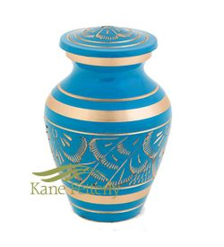 Blue sky and gold miniature urn