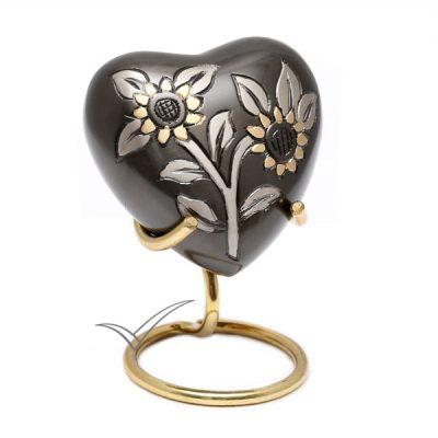 Urne miniature en coeur au motif de tournesols