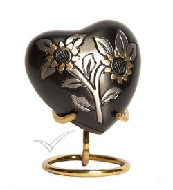 U8693H Heart miniature urn with sunflowers