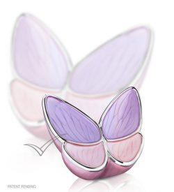 U8811K Lavander and pink butterfly miniature urn
